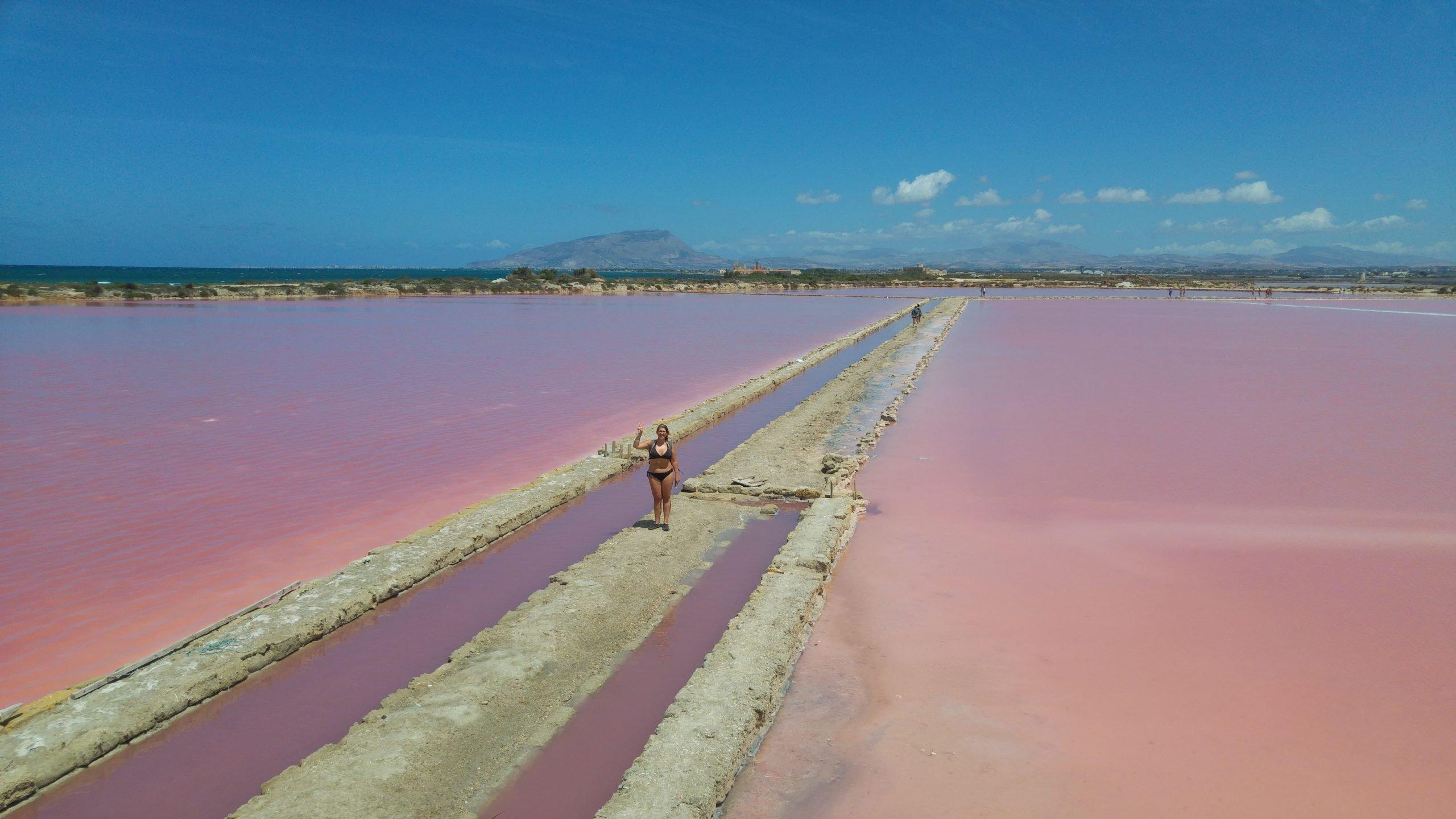 vasche di acqua rosa alle saline di Marsala