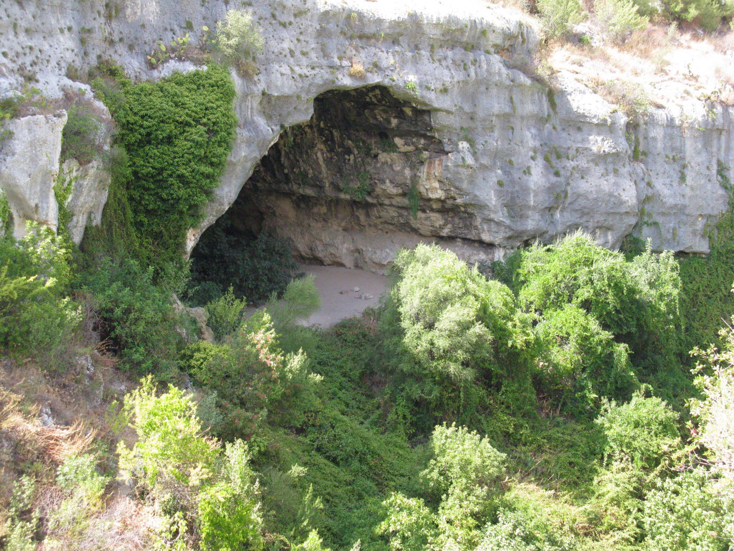 grande grotta a forma di piramide con molta vegetazione ai fianchi